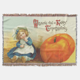 Cute Little Girl Field Pumpkin Throw Blanket