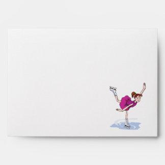 cute little girl figure skater spinning envelope