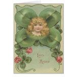 Cute Little Girl Four Leaf Clover Flowers Greeting Card