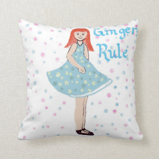 "Cute Little Girl ""Gingers Rule"" American MoJo Pill Throw Pillow"