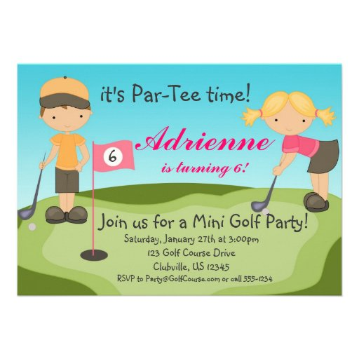 Personalized mini golf invitations custominvitations4u cute little girl golf birthday party invitation filmwisefo Choice Image