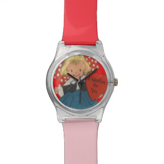 Cute Little Girl Heart Valentine Valentine's Day Wrist Watches