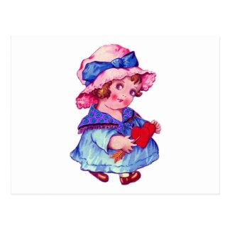 Cute Little Girl Holding Heart Postcard