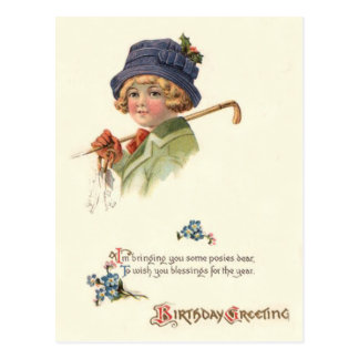 Cute Little Girl Holly Posey Forget-Me-Not Postcard