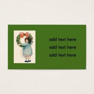 Cute Little Girl Holly Wreath Pink Bow Business Card