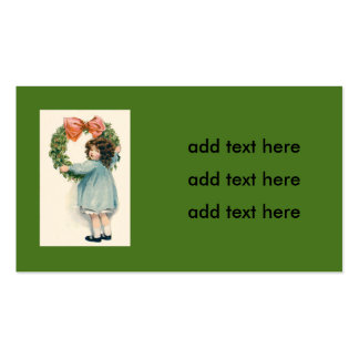 Cute Little Girl Holly Wreath Pink Bow Double-Sided Standard Business Cards (Pack Of 100)