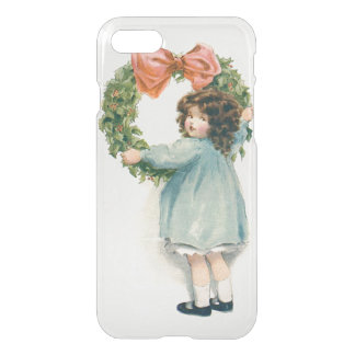Cute Little Girl Holly Wreath Pink Bow iPhone 7 Case