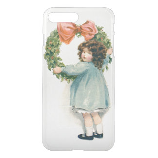 Cute Little Girl Holly Wreath Pink Bow iPhone 7 Plus Case