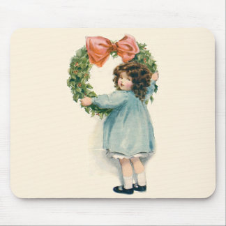 Cute Little Girl Holly Wreath Pink Bow Mouse Pad