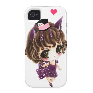 Cute little girl in purple polka dots dress vibe iPhone 4 cover