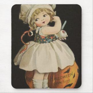 Cute Little Girl Jack O' Lantern Pumpkin Mouse Pad