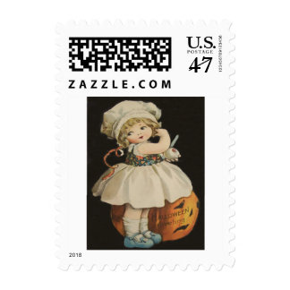 Cute Little Girl Jack O' Lantern Pumpkin Postage
