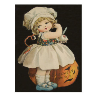 Cute Little Girl Jack O' Lantern Pumpkin Postcard