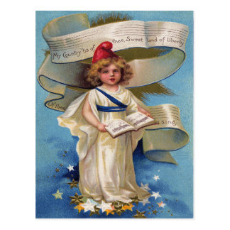 Cute Little Girl Lady Liberty Postcard