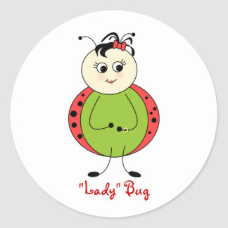 Cute Little Girl Ladybug With Bow Classic Round Sticker