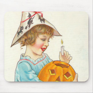 Cute Little Girl Lighting Jack O Lantern Mouse Pad
