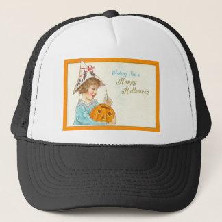 Cute Little Girl Lighting Jack O Lantern Trucker Hat