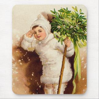 Cute Little Girl Mistletoe Snow Mouse Pad
