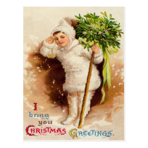 Cute Little Girl Mistletoe Snow Postcard