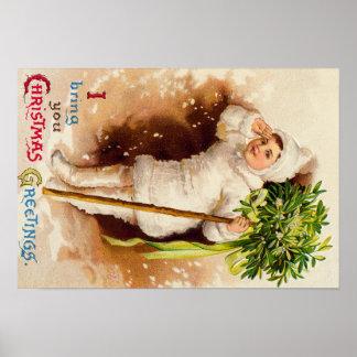 Cute Little Girl Mistletoe Snow Poster