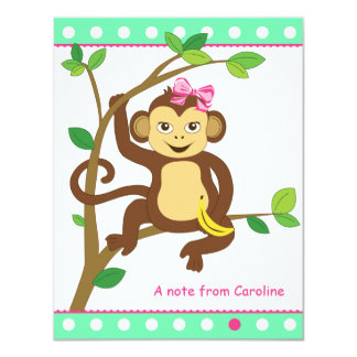 Cute Little Girl Monkey Note Card