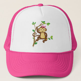 Cute Little Girl Monkey Trucker Hat