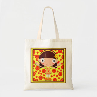 Cute Little Girl on Yellow and Orange Tote Bag