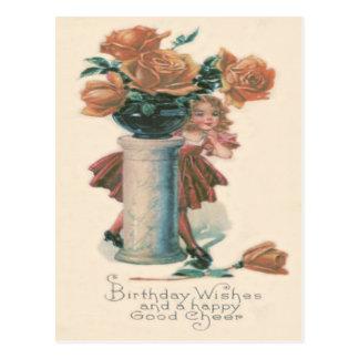 Cute Little Girl Pedestal Roses Postcard