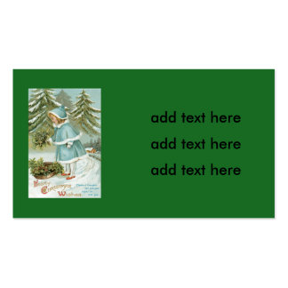 Cute Little Girl Picking Holly Snow Business Card
