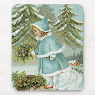 Cute Little Girl Picking Holly Snow Mouse Pad