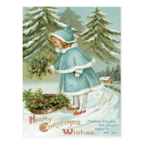 Cute Little Girl Picking Holly Snow Postcard