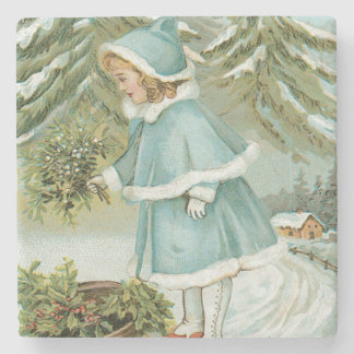 Cute Little Girl Picking Holly Snow Stone Coaster