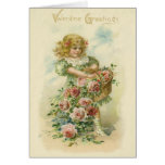 Cute Little Girl Pink Roses Card