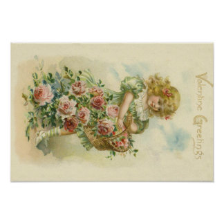 Cute Little Girl Pink Roses Poster