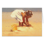 Cute little girl playing in sand greeting card