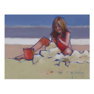 Cute little girl playing in sand postcard