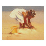 Cute little girl playing in sand poster