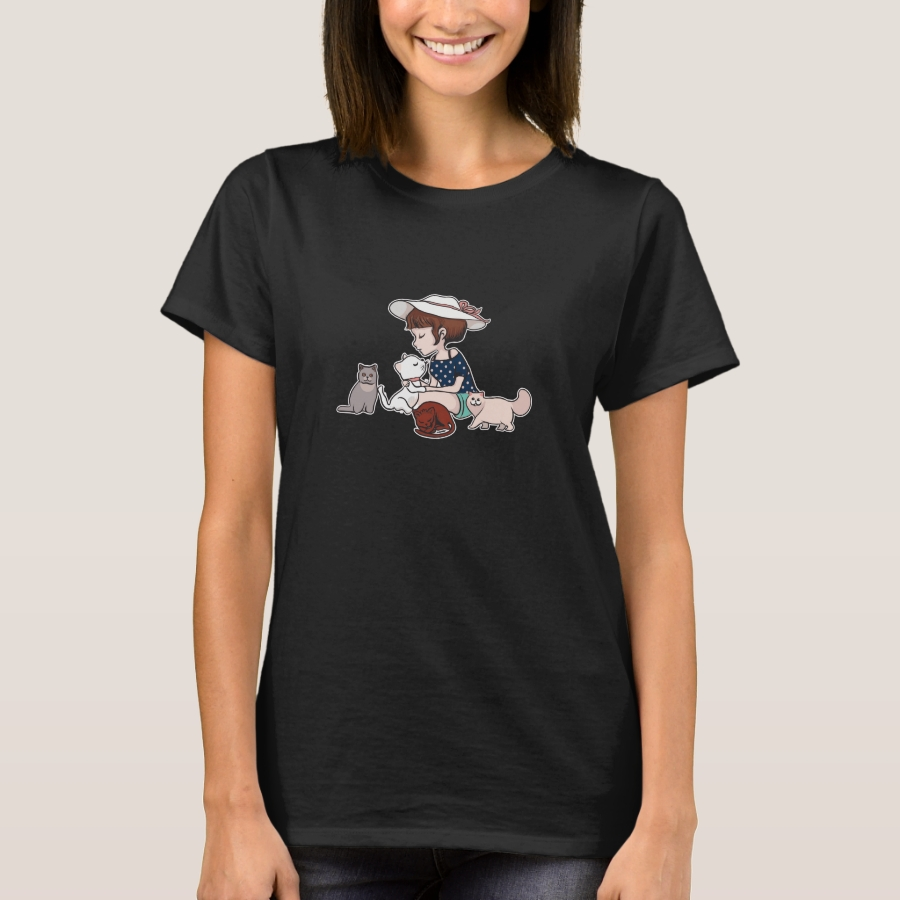 Cute Little Girl Playing With Kittens T-Shirt - Best Selling Long-Sleeve Street Fashion Shirt Designs