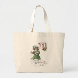 Cute Little Girl Poinsettias Poinsettia Large Tote Bag