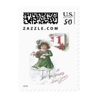 Cute Little Girl Poinsettias Poinsettia Postage