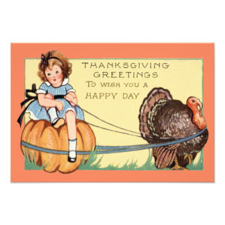 Cute Little Girl Riding A Pumpkin Turkey Photo Print