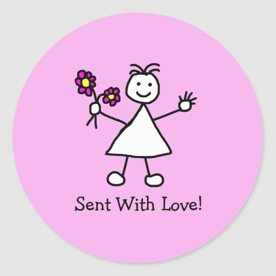 Cute Little Girl Sent With Love Classic Round Sticker
