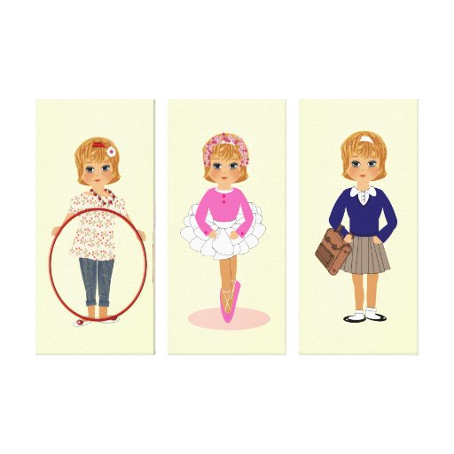 Cute little Girl Set of Canvas Picture Prints