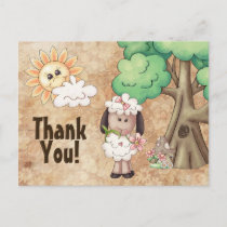 Cute Little Girl Sheep and Flowers Thank You Postcard