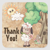 Cute Little Girl Sheep and Flowers Thank You Square Sticker