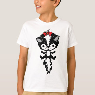 CUTE LITTLE GIRL SKUNK RED BOW BLACK WHITE CARTOON T-Shirt