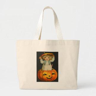 Cute Little Girl Smiling Jack O' Lantern Pumpkin Large Tote Bag