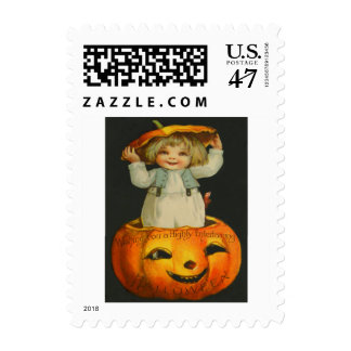 Cute Little Girl Smiling Jack O' Lantern Pumpkin Postage