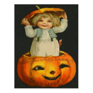 Cute Little Girl Smiling Jack O' Lantern Pumpkin Postcard