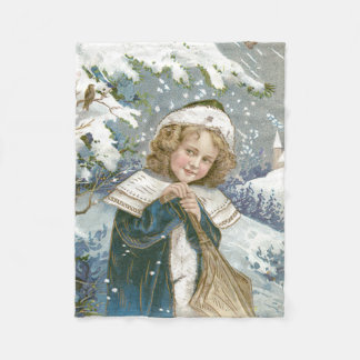 Cute Little Girl Snow Tree Church Fleece Blanket